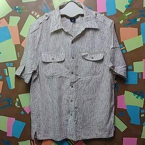 Vtg 80s John Blair Short Slv Button Down Shirt L